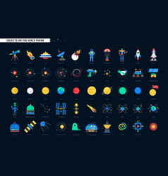 space objects - colorful flat design style icons vector image