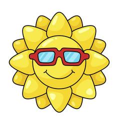 Sun yellow symbol in sunglasses bright shine vector
