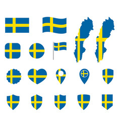sweden flag icons set national flag kingdom of vector image