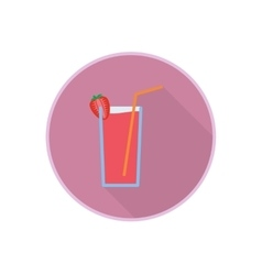symbol of fresh strawberry juice cocktail vector image