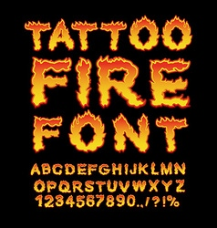 Tattoo Fire font Flame Alphabet Fiery letters vector
