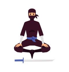 The ninja meditates near sword vector