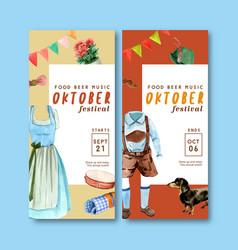 Trachten outfit flyer design for october festival vector
