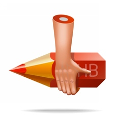 Very realistic pencil hand icon vector