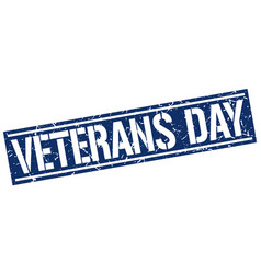 Veterans day square grunge stamp vector