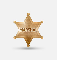 vintage bronze badge marshal star vector image
