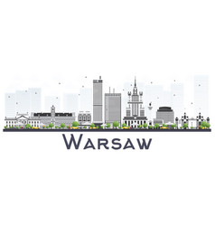 Warsaw poland city skyline with gray buildings vector