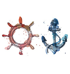 Watercolor and ink of an anchor and a steering vector
