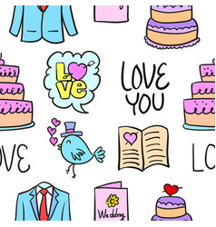 wedding colorful doodle style collection vector image
