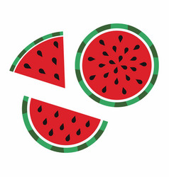 Whole watermelon and slices vector
