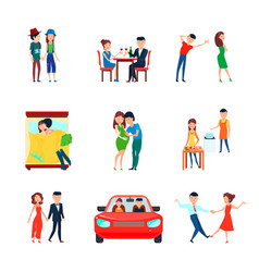 Wife husband responsibilities icon set vector
