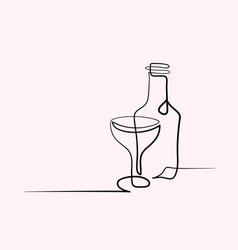 Wine and glass contour black outline vector