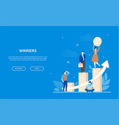 winners concept - flat design style colorful vector image