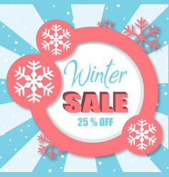 Winter sale off pink circle image vector
