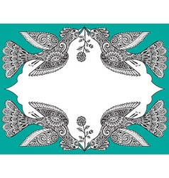 with hand drawn ornate birds and flowers vector image