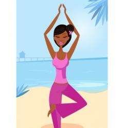 Yoga tree pose vector image