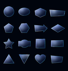 blue glass plates set textured frames with glow vector image