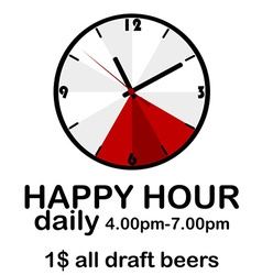 Happy hour concept with clock vector image