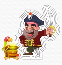Pirate treasure maze game vector image