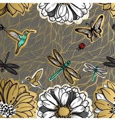 Seamless pattern flowers butterflies hummingbirds vector image