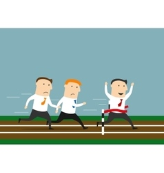 Businessman is winning the business races vector image