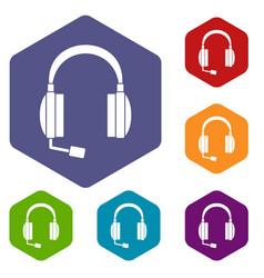 headphones icons set vector image