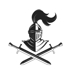 Knight helmet with two swords isolated on white vector image vector image