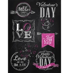 Set Valentines Day pink vector image vector image