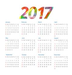 Template of calendar 2017 year vector image