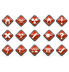 Danger round corner warning sign set vector image