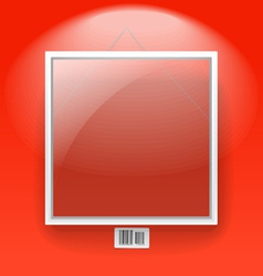 Glass board with white frame on a red wall vector image