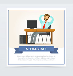 happy bearded man character sitting at the table vector image vector image