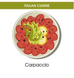 italian cuisine carpaccio meat or fish appetizer vector image