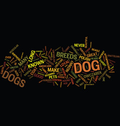 Lesser known dog breeds text background word vector