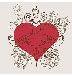 Old-school style tattoo heart with flowers and vector image vector image