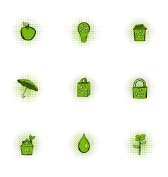 Purity of nature icons set pop-art style vector image vector image