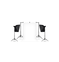 Two softboxes and white photo background vector image vector image
