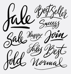 Sale and best seller hand written typography vector