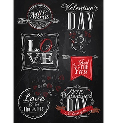 Set Valentines Day red vector image vector image