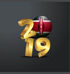 2019 golden typography with kenya flag happy new vector