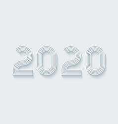 2020 year sign light perforated paper with cut vector image