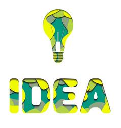 3d inscription idea and light bulb cut from paper vector