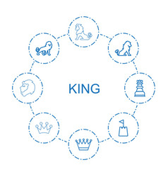 8 king icons vector image