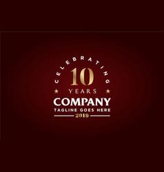 anniversary 10th celebrate company logo vector image