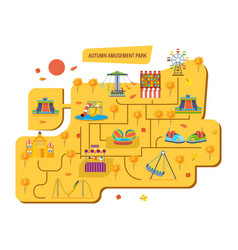 Autumn amusement park for children with carousels vector