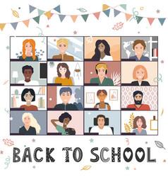 Back to online school background welcome vector