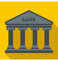 Bank building icon flat style vector image