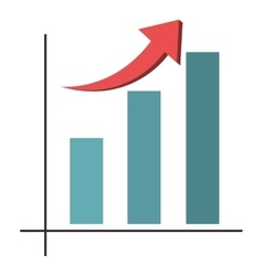 bar graph with arrow icon vector image