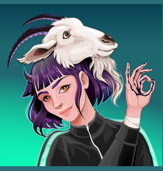 Beautiful girl with a goat on her head vector