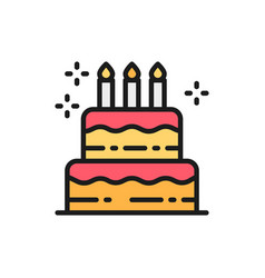 birthday cake holiday torte sweet flat color vector image